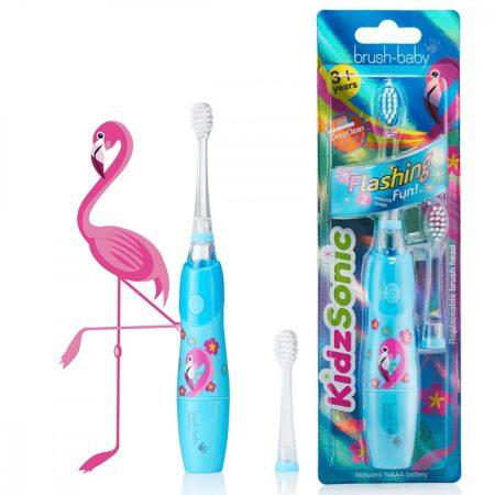Brush-Baby KidzSonic világító szónikus elemes fogkefe 3 éves kortól - flamingó