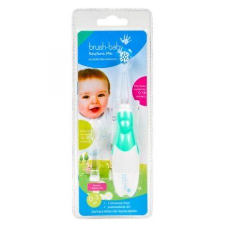 Brush-Baby BabySonic PRO világító elemes fogkefe 0-3 éves korig - zöld