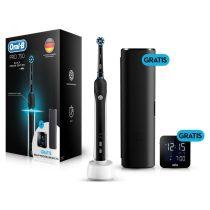 Oral-B PRO 750 CrossAction Black Edition elektromos fogkefe + Braun ébresztő óra