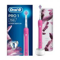 Oral-B Pro 1 750 Pink Design Edition elektromos fogkefe + útitok