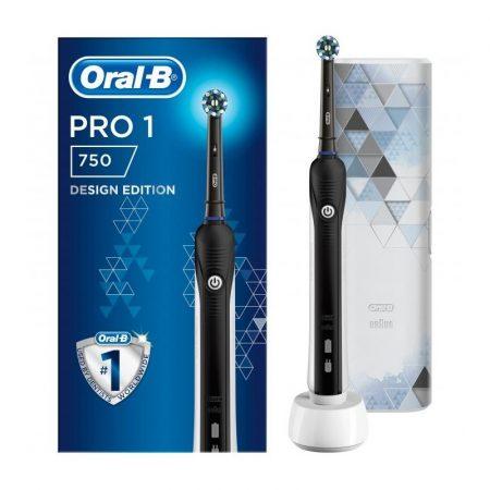 Oral-B Pro 1 750 Black Design Edition elektromos fogkefe + útitok
