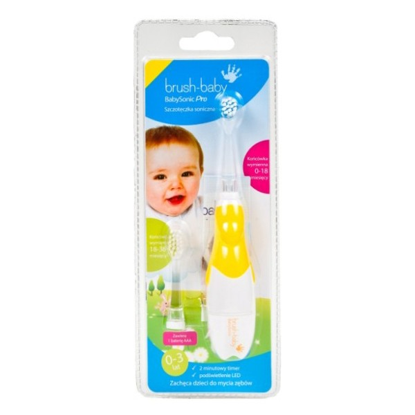 BabySonic PRO világító elemes fogkefe 0-3 éves korig - sárga